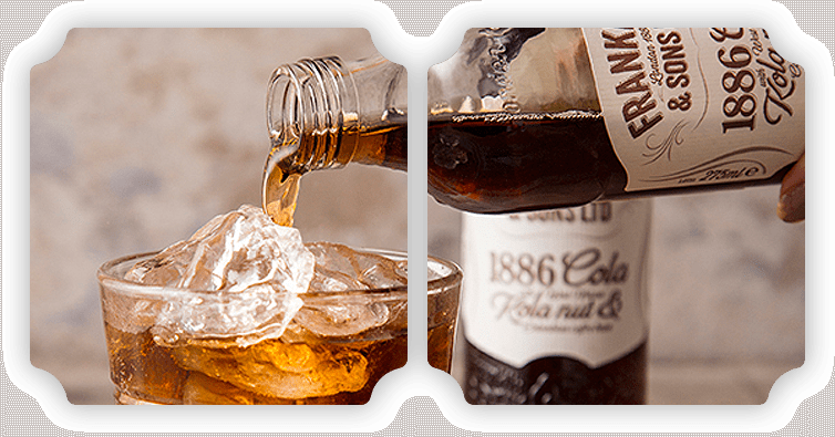Franklin & Sons cola being pured into glass with ice